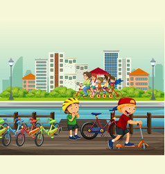 people doing activity in the park vector image