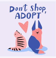 Pet adoption card flat of vector