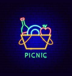 Picnic neon label vector