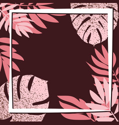 pink tropical leaves on the dark background vector image