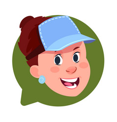 profile icon female head in chat bubble isolated vector image