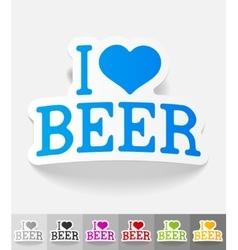 realistic design element I love beer vector image