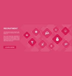 Recruitment banner 10 icons conceptcareer vector