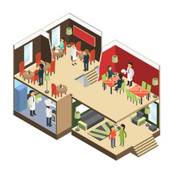Restaurant interior isometric bar cafe buffet vector