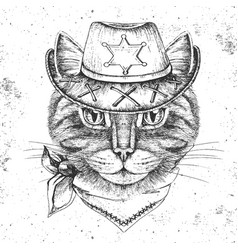 Retro hipster animal cat hand drawing muzzle of vector