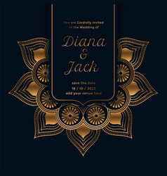 Royal wedding invitation template with mandala vector