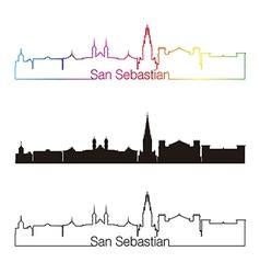 San Sebastian skyline linear style with rainbow vector