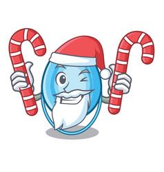 Santa with candy oxygen mask mascot cartoon vector