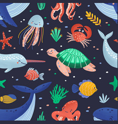Seamless pattern with cute funny marine animals or vector
