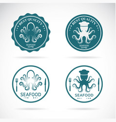 Set octopus seafood labels on white vector