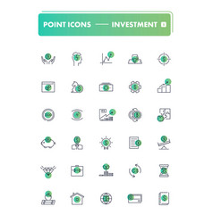 set of 30 line icons investment vector image