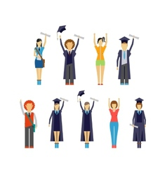Set of cheering students and graduates vector image