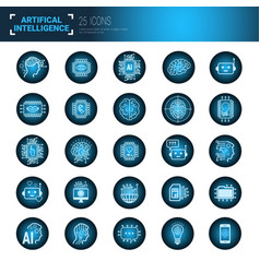 set of icons over blue circuit motherboard vector image