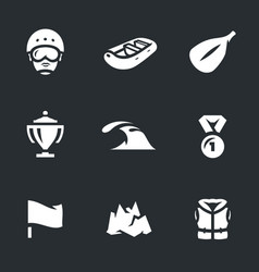 set of rafting icons vector image
