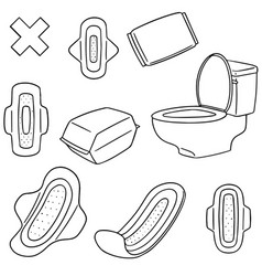 set of sanitary napkin vector image