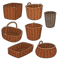 Set of wicker basket vector
