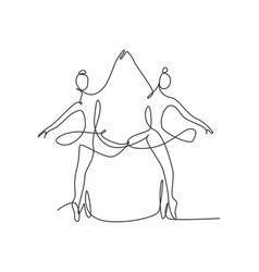 single continuous line drawing ballerina vector image