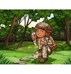 Soldier in forest on radio vector