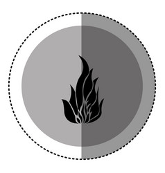Sticker monochrome circular emblem with flame icon vector