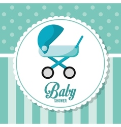 Stroller of baby shower card design vector image