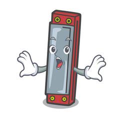 Surprised harmonica mascot cartoon style vector
