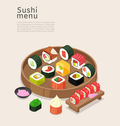 sushi menu asian food with rice poster vector image