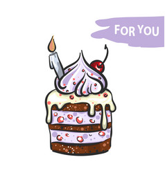 sweet cake with candle hand drawn vector image