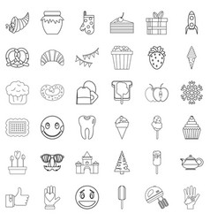 sweet stuff icons set outline style vector image