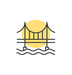 Thin line sunset behind the bridge logo vector