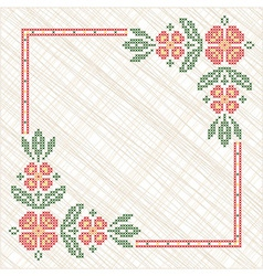 Traditional Ukrainian cross-stitch embroidery vector
