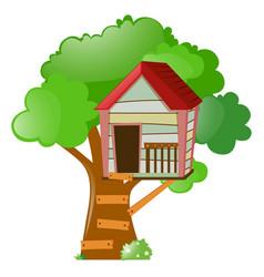 Treehouse on big tree vector