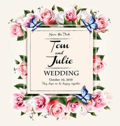 vintage wedding invitation design with colorful vector image