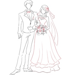 Wedding couple sketch vector image vector image