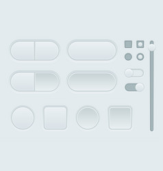 white interface buttons set of web 3d icons vector image