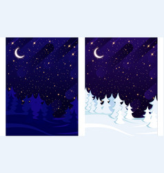 winter and summer spruce forest on background vector image