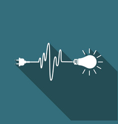 wire plug and light bulb icon isolated vector image