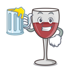 With juice wine mascot cartoon style vector