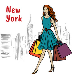 Woman in new york vector
