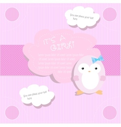 Baby shower for girl in pink tones with penguin vector image