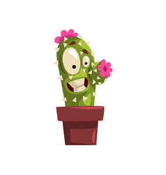 laughing cactus character with pink flowers in a vector image