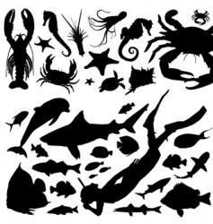 sea animals vector image vector image