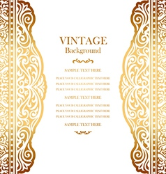 Wedding gold card with lace pattern vector image vector image