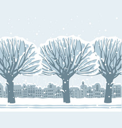 winter landscape with snow-covered trees in town vector image vector image