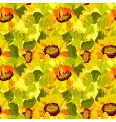 Floral sunflower and leafs seamless pattern vector image vector image