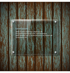 glass plate on old wooden wall vector image vector image