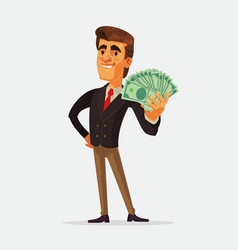 happy rich businessman character vector image