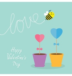 Heart stick flower in the pot and bee with dash vector image vector image