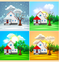 house and nature four seasons vector image vector image