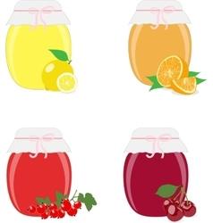 Jam jars lemons oranges currants and cherries vector image vector image