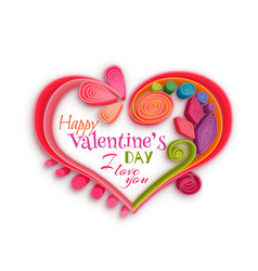 Quilling paper heart Happy valentine day vector image vector image